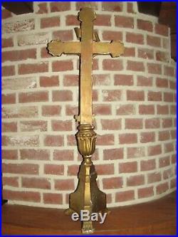 03F23 ANCIEN CHRIST 76,5 cm CRUCIFIX AUTEL EN BOIS SCULPTE DORE RELIGION XVIIIe