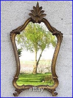 03d51 Ancien Miroir Style Bois Sculpte Et Stucs Dores Décors Coquille Louis XV /