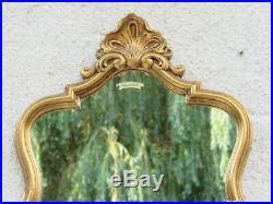 05e18 Ancien Miroir Bois Sculpte Stuc Dore A La Feuille Décors Coquille Louis XV