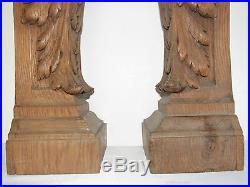 07C37 ANCIENNE PAIRE DE PILIER COLONNE SELLETTE BOIS SCULPTE ARCHITECTURE XIX e
