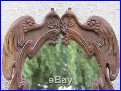 07e5 Ancien Miroir En Bois Sculpte Aux Décors Et Epoque Art Nouveau Populaire