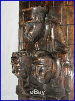 07f28 Ancien Panneau Mural En Bois Sculpte Les Chantres Chants Religieux Eglise