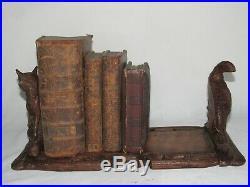 07f28 Ancien Serre Livres Bois Sculpte Foret Noire Art Populaire Renard Faisan