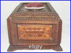 09c26 Ancien Coffret Boite A Couture Bois Sculpte Art Populaire Napoléon III XIX