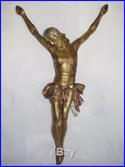 11D1 ANCIEN GRAND CHRIST 70 cm CRUCIFIX EN BOIS SCULPTE ET DORE XVIIIe 18 th C