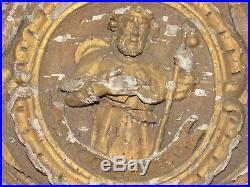 11D1 ANCIEN ORNEMENT FRONTON ST JACOB EN BOIS SCULPTE ET DORE XVIIIe 18 th C