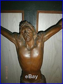 125cm! SUPERBE ANCIEN CRUCIFIX MURAL FIN XIXè-DEBUT XXè/BOIS SCULPTE/H. JESUS 51cm