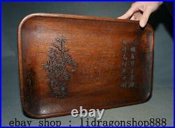 14,4Ancien Chine Huanghuali Bois Sculpté Dynastie Bambou Oiseaux Textes Plateau
