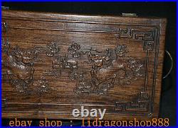 16 Ancien Chine Huanghuali Bois Manuel Sculpté Palais Qilin Kylin Coffre Boîte