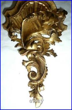 2 Anciennes Consoles murales vénitiennes, bois sculpté doré, Acanthes, Rococo