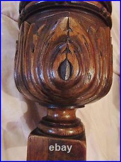 2 anciens gros pieds boules-balustres-colonnes en bois sculpté-carved wood-