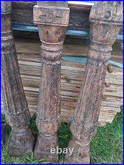 3 ancienne BOISERIES INDONESIENNE en bois polychrome sculpter vintage. INDE