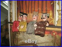 4 Anciennes MARIONNETTES A GAINE GUIGNOL Théâtre Lyonnais bois sculpté