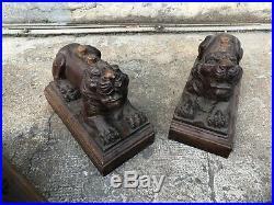 4 LION EN BOIS Sculpté ANCIEN Élément De Meuble Cabinet Chinois Asiatique XIXe