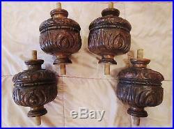 4 anciens pieds-balustres-colonnes en bois sculpté- déco frise -carved wood-