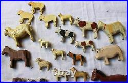 42animaux Erzgebirge bois sculpte c1900 jouet ancien Miniatures archeNoe village