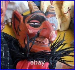 6 Marionnettes a main T. Anciennes Tête de bois SCULPTES Punch /Guignol