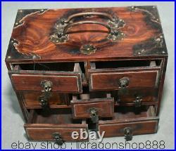 8 Ancien Chinois Huanghuali Bois Sculpté Dynastie 7 Tiroirs Armoire Portable