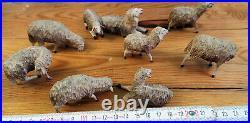 9 tres ancien LOT DE MOUTONS C1880/1900 BOIS SCULPTES primitif Noel ancien