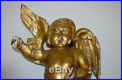 ANCIEN ANGELOT PUTTI BOIS Sculpté Doré CHERUBIN MURAL DECO EGLISE ANGE puttis
