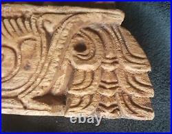 ANCIEN BAS RELIEF DIVINITÉS INDE, INDE, NÉPAL DE TEMPLE SCULPTÉ 18e, 19e 26x45 CM