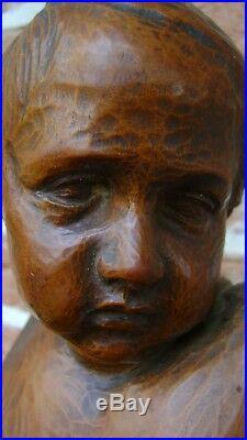 ANCIEN BOIS SCULPTÉ FLANDRES XIXème TÊTE D'ENFANT MONOGRAMME J. J ou JD