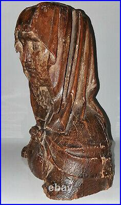 ANCIEN BUSTE TÊTE VIERGE MARIE BOIS SCULPTÉ HAUTE ÉPOQUE FRAGMENT STATUE XVème