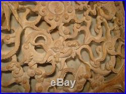 ANCIEN COFFRET BOITE bois sculpté Indochine Chine GRUE TORTUE DRAGON vers 1900