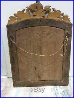 ANCIEN GRAND MIROIR, BOIS SCULPTE, BOIS DORE, EPOQUE LOUIS XIV, XVIIIeme, BOIS DORE