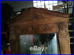 ANCIEN GRAND MIROIR en bois sculpté acajou XXé Cadre Glace Cheminée