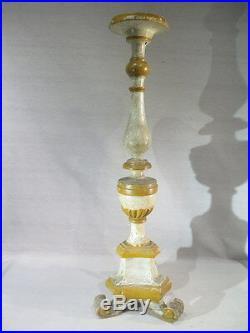 ANCIEN GRAND PIC CIERGE EN BOIS SCULPTE LAQUE EPOQUE XVIII ème LAMPE SCELETTE