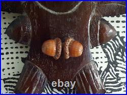 ANCIEN GRAND TROPHéE de CHASSE MASSACRE-CORNE de CERF sur BOIS CERVIDé-sculpté