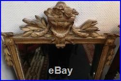 ANCIEN MIROIR d'entre-deux en bois sculpté doré époque Louis XVI glace trumeau