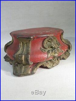 ANCIEN SOCLE SUPPORT DE STATUE EN BOIS SCULPTE LAQUE EPOQUE XVIII ème