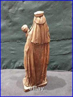 ANCIEN VIERGE A L'ENFANT, BOIS SCULPTE, XVIIIeme, STATUE, RELIGIEUX, RELIGION