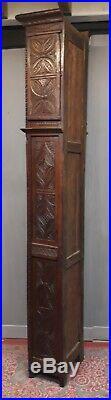 ANCIENNE HORLOGE COMTOISE BRETONNE 19 ème sculptée de personnages bretons meuble