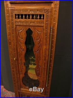 ANCIENNE HORLOGE COMTOISE BRETONNE sculptée de personnages bretons meuble