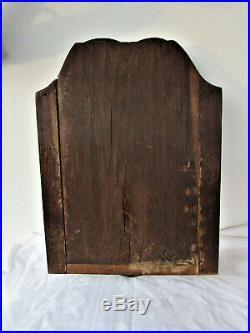 ANCIENNE PORTE de TABERNACLE BOIS SCULPTE DECOR CIBOIRE VIGNE CROIX signé 1910