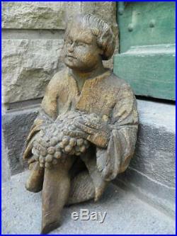 ANCIENNE STATUE DE SAINT VINCENT bois sculpté XVIIeme