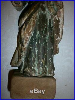ANCIENNE STATUE /JESUS BOIS SCULPTE POLYCHROME/EGLISE/H. 28cm+SOCLE/XIXéme