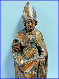 ANCIENNE STATUE RELIGIEUSE BOIS SCULPTÉ DORÉ /SAINT ELOI/H. 33cm/XVIIIème