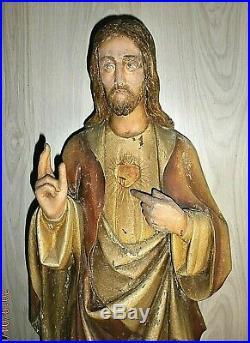 ANCIENNE STATUE RELIGIEUSE/ JESUS SACRE-COEUR / /H. 92cm/BOIS SCULPTE POLYCHROME