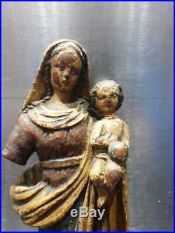 ANCIENNE STATUE, RELIGIEUSE, RELIGION, XVIIIeme, BOIS SCULPTE, VIERGE A L'ENFANT