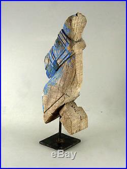 ANCIENNE TETE DE CHEVAL en bois sculpté et peint, sur socle, Inde, Rajasthan