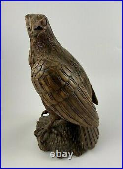 Aigle En Bois Sculpte 1900 Travail Ancien Art Populaire Rapace F186