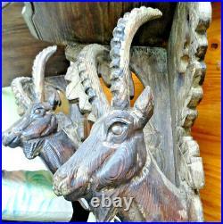Ancien, 2 etagere chamois yeux sulfure! Foret noir bois sculpté 19eme alpes