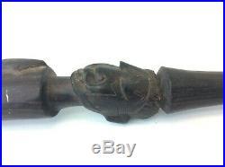 Ancien Antique Africaine Sculpté Serpent Sculpture Ébène Bois Noir Canne Bâton