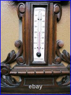 Ancien Barometre Et Thermometre Sur Socle Bois Sculpte