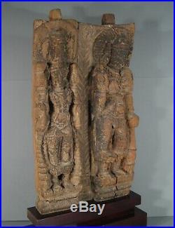 Ancien Bas Relief En Bois Sculpté Hindou Kmer / Femme Sculpture Ancienne Inde