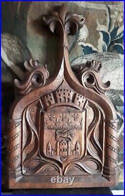 Ancien Bas-Relief aux Armoiries de la ville de Bordeaux Chêne sculpté XIXe